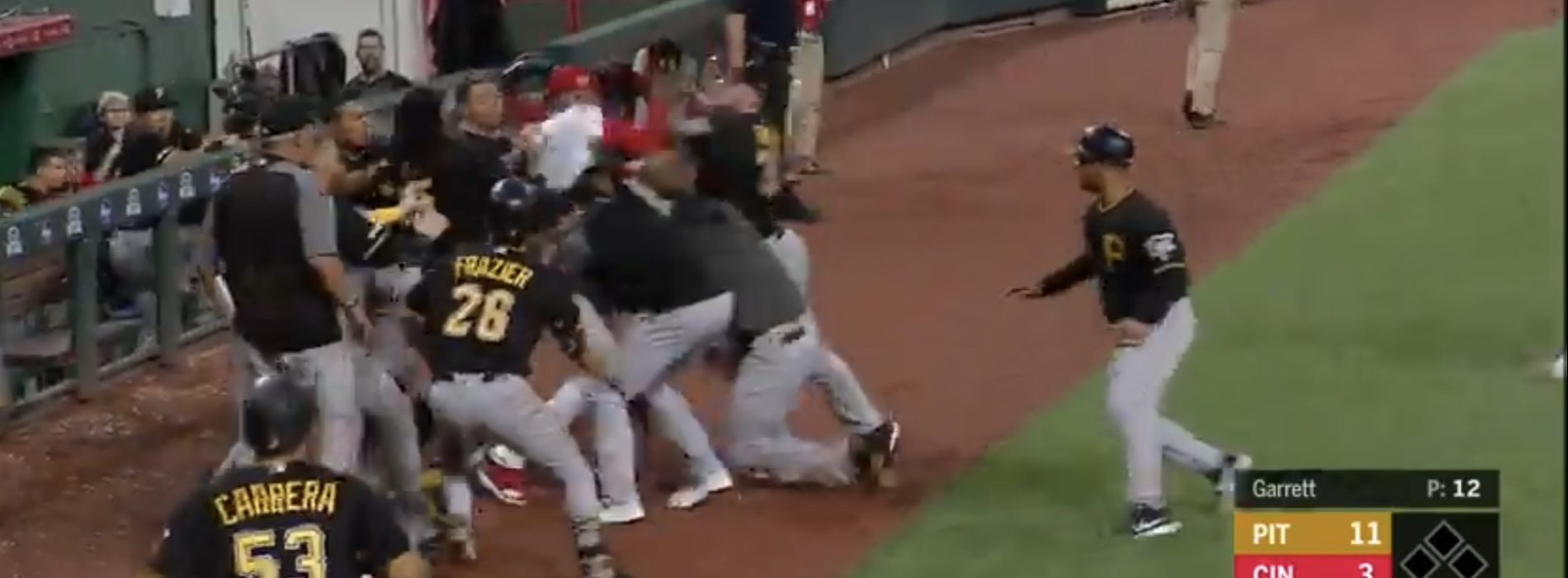 Watch: Bench-clearing brawl erupts between Reds and Pirates