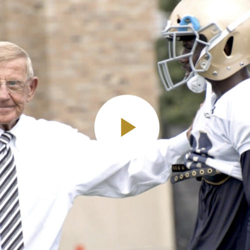 Lou Holtz Stops by Irish Practice